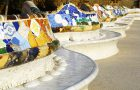 Multi colored benches in Park Guell by famous architect Antoni Gaud?. Barcelona, Spain.